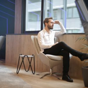 an employee thinking about his perspective on personal career