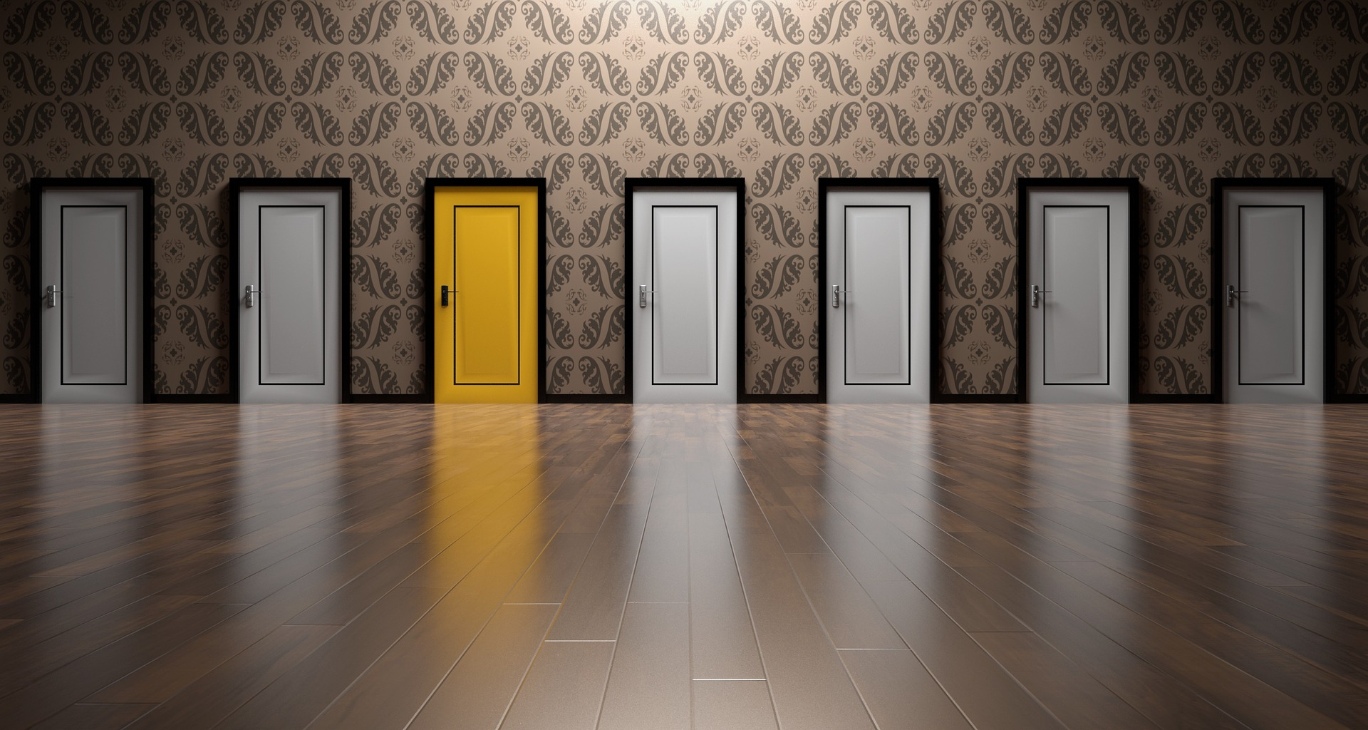 ultiple job offers signified by a yellow doors in between 6 white doors