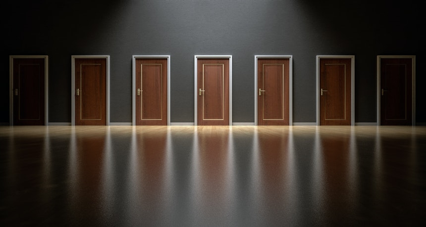 Doors showing common misconceptions in picking a career