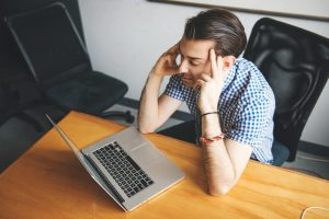 Man with career burnout
