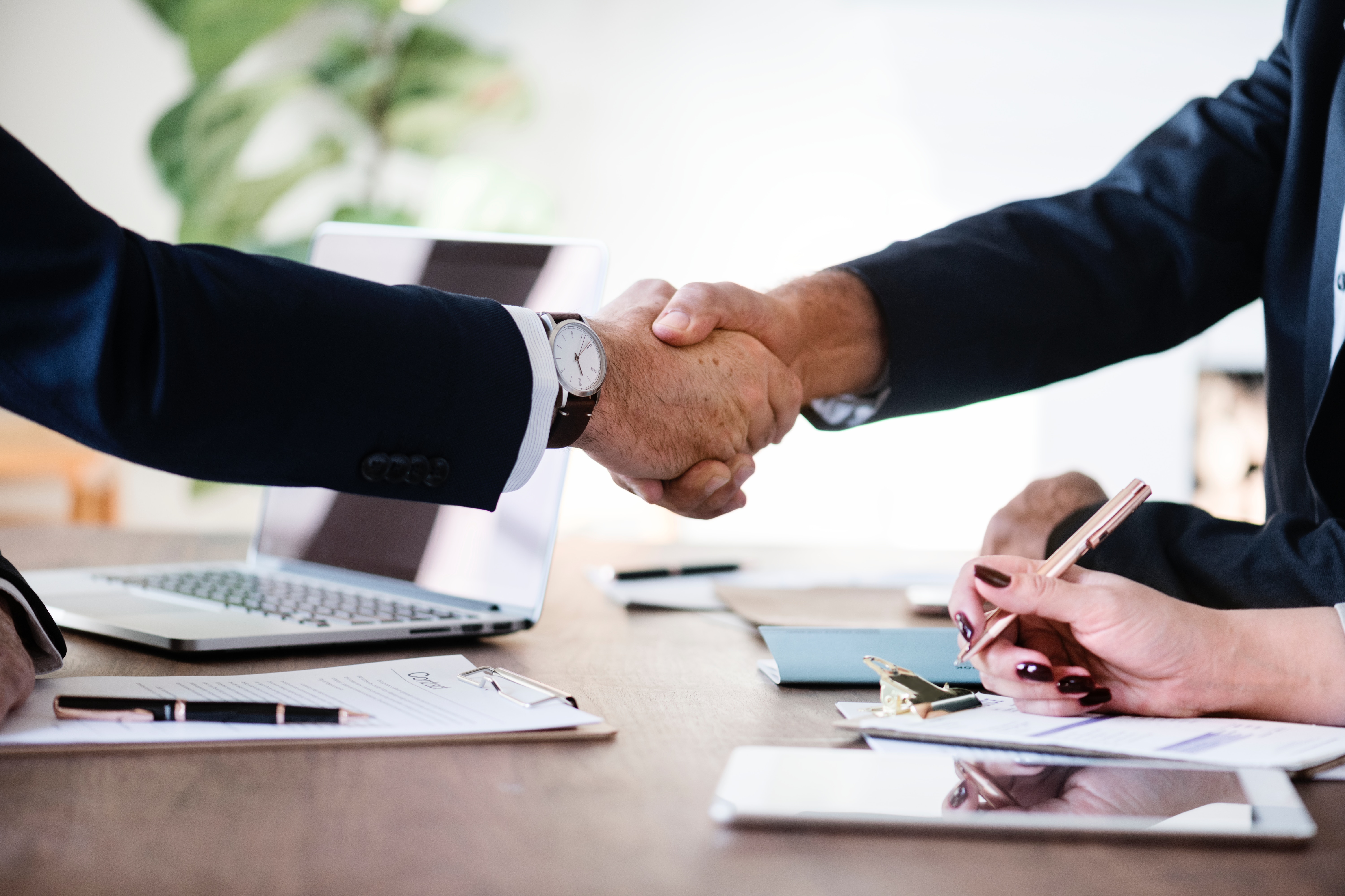 a professional handshake for a new job