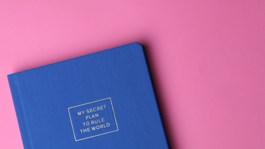 blue journal on a pink background with tips about writing a compelling resume