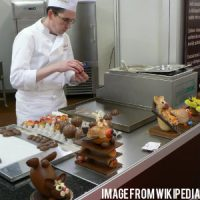 a chef decorating chocolates