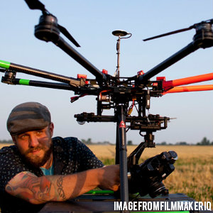 a man with a large drone