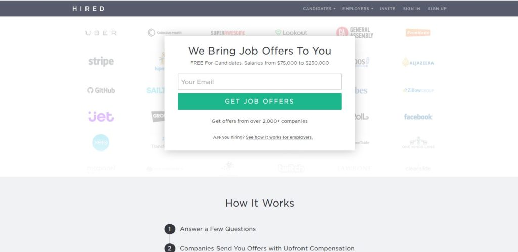 Hired: job search tools