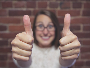 keeping employees happy: two thumbs up