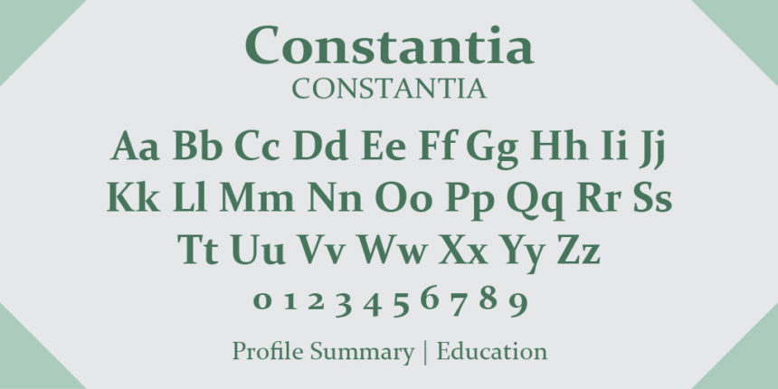 constantia as one of the best resume writing fonts