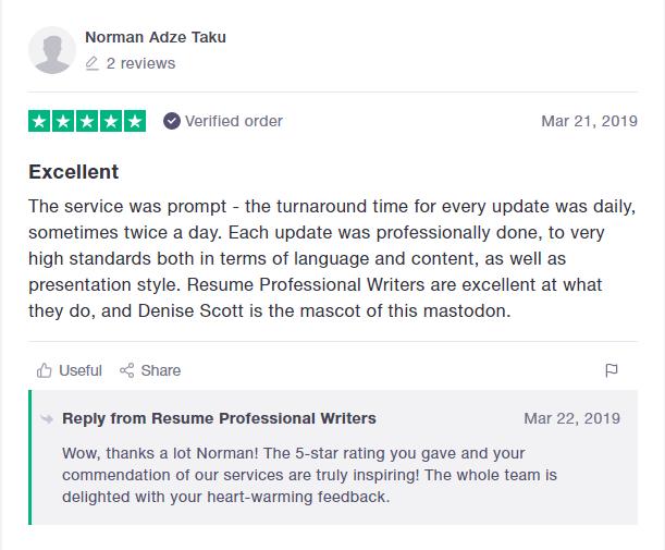 10 Best Resume Writers in 2019 — screenshot of Resume Professional Writers' TrustPilot review
