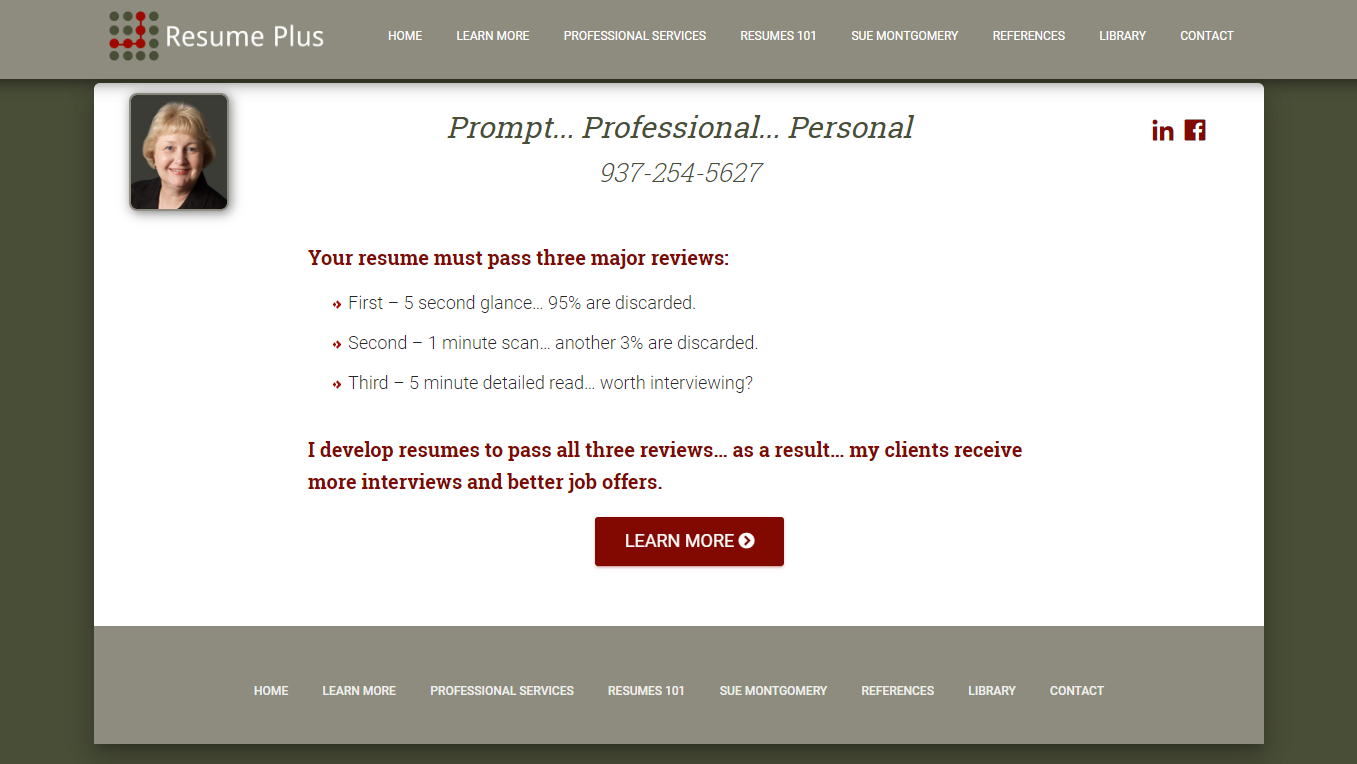 10 Best Resume Writers in 2020 – screenshot of Resume Plus homepage