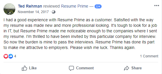 10 Best Resume Writers in 2020 – screenshot of Resume Prime Facebook review