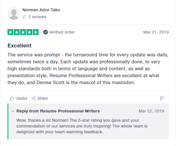 10 Best Resume Writers in 2019 — screenshot of Resume Professional Writers' TrustPilot review