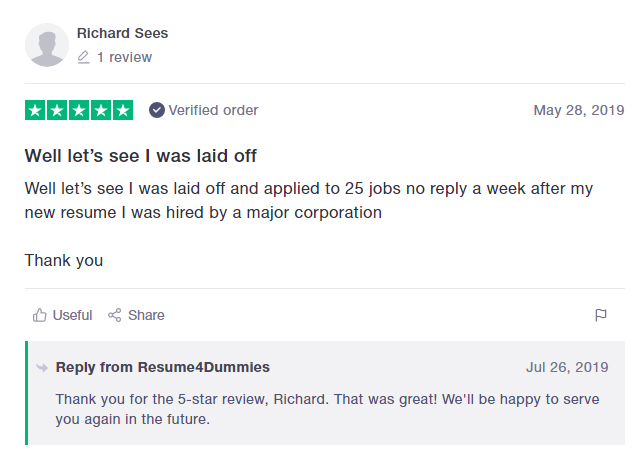 10 Best Resume Writers in 2020 – screenshot of Resume4Dummies' TrustPilot review