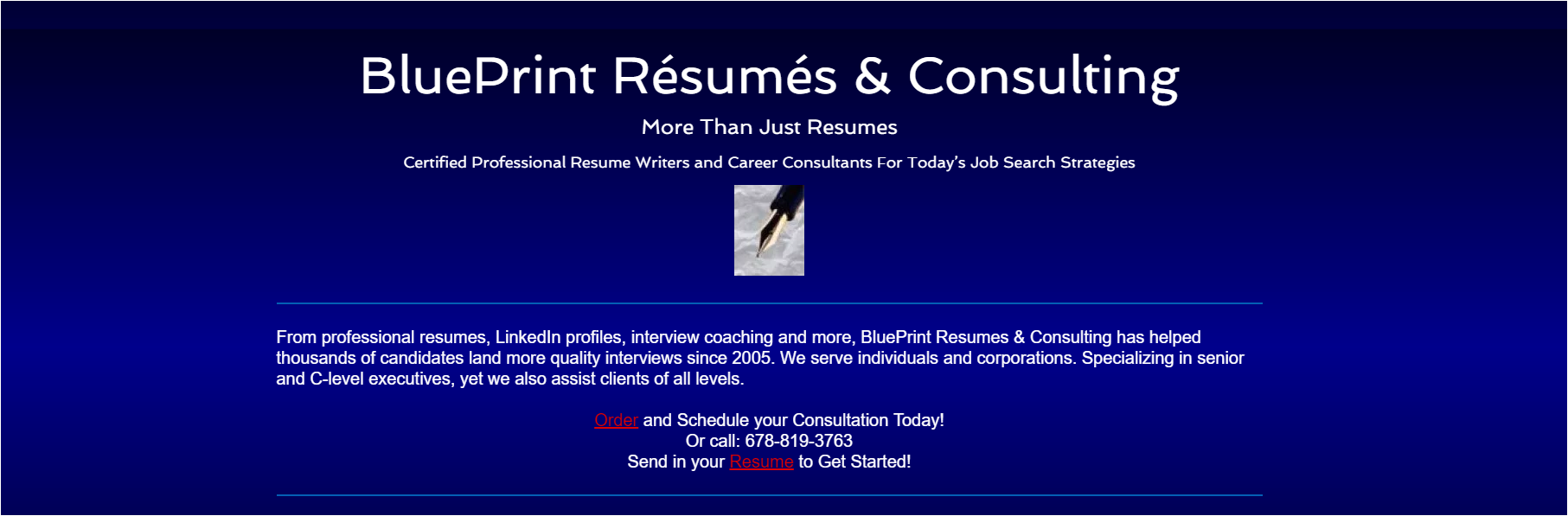 10 Best Resume Writers in 2019 — screenshot of BluePrint Resumes & Consulting homepage