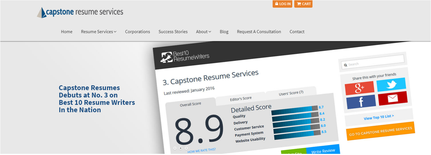 10 Best Resume Writers in 2020 – screenshot of Capstone Resume Services' homepage