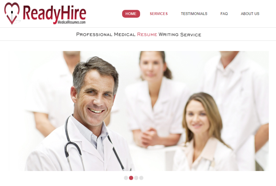 Screenshot of ReadyHire Medical Resumes' banner with a member of a medical team as one of the best medical resume services