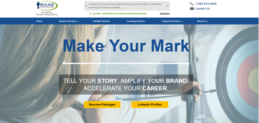 Screenshot of Resume Footprint's banner with a woman holding a bow targeting the best medical resume services