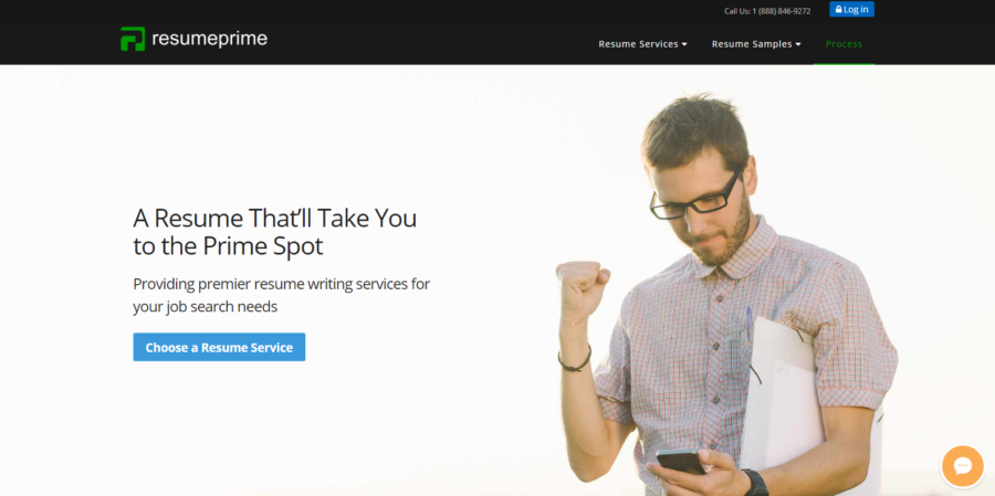 Screenshot of Resume Prime's banner with a man wearing searching for the best medical resume services on his phone