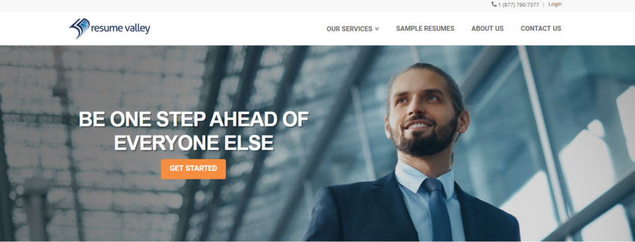 Screenshot of Resume Valley's banner with a man wearing a suit, out to look for the best 10 medical resume services