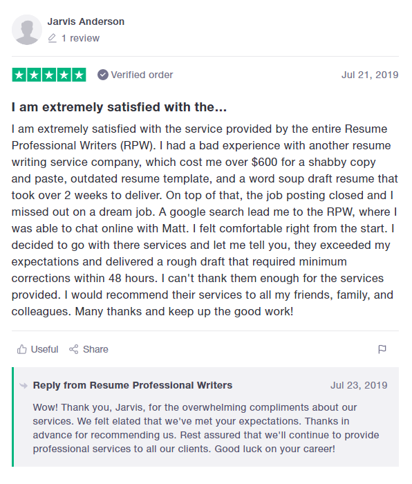 10 Best Resume Writers in 2020 – screenshot of Resume Professional Writers' TrustPilot review