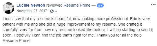 A screenshot of a facebook review to the executive resume writing services from resume prime