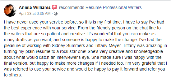 Screen grab of a facebook review on resume professional writers and their executive resume writing services