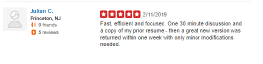 Screen grab of a bad yelp review on capstone resume services and their executive resume writing services