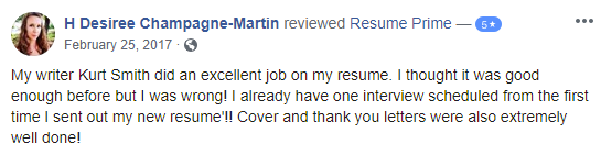screen grab of Facebook review on Resume Prime on its best federal resume writing services and other resume services