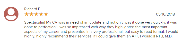 screen grab of a client review on Careers Plus Resumes