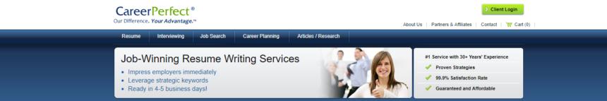 screen grab of Career Perfect's banner
