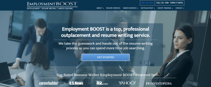 screen grab of Employment Boost banner with four people meeting about their resume writing services in New York