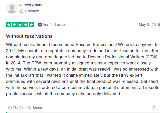 screen grab of Resume Professional Writers' review on Trustpilot proving it's one of the best federal resume writing services