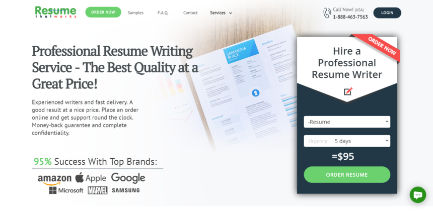 screen grab of Resume That Works banner to show its best federal resume writing services 2020