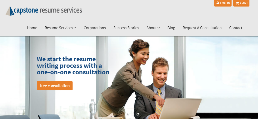 Screen grab of capstone resume services showing their executive resume writing services