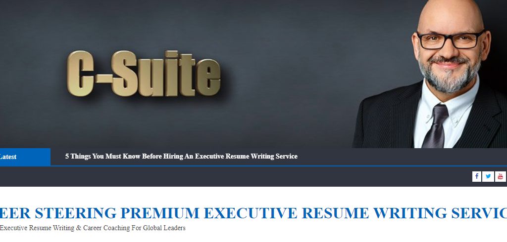Screen grab of career steering saying they have premium executive resume writing services