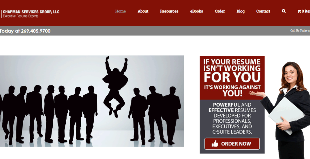 Screen grab of chapman services group llc showing their best resume writing services