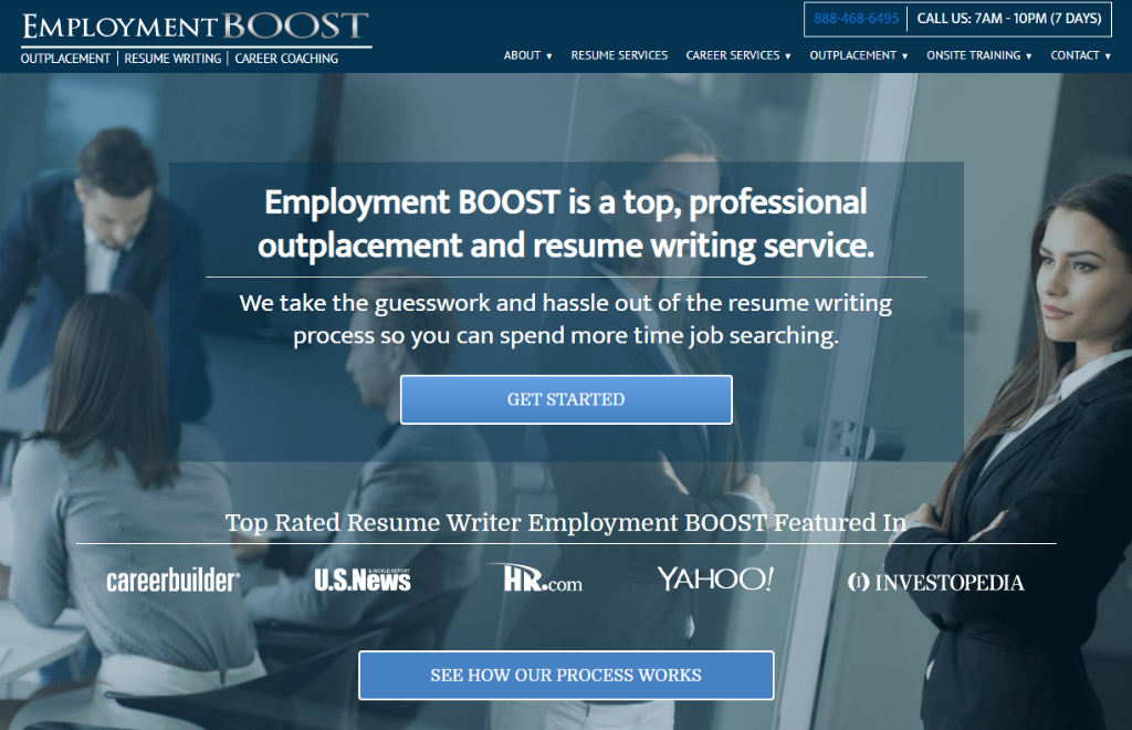 Screen grab of employment boost, a top professional and best executive resume writing service