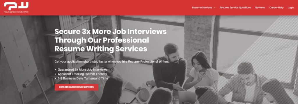 Screen grab of resume professional writers and their executive resume writing services
