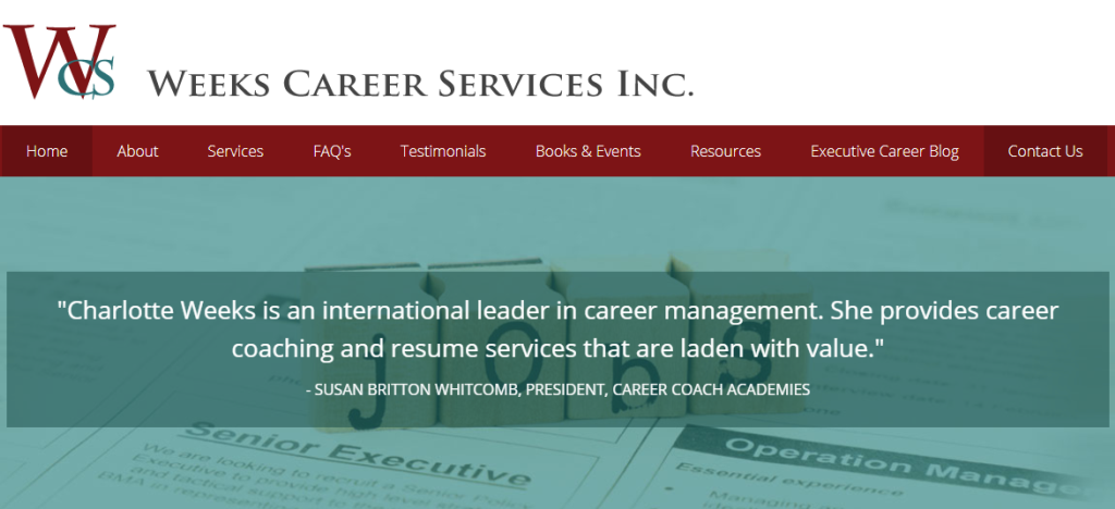 Screen grab of weeks career services, saying they provide career coaching and executive resume writing services this 2020