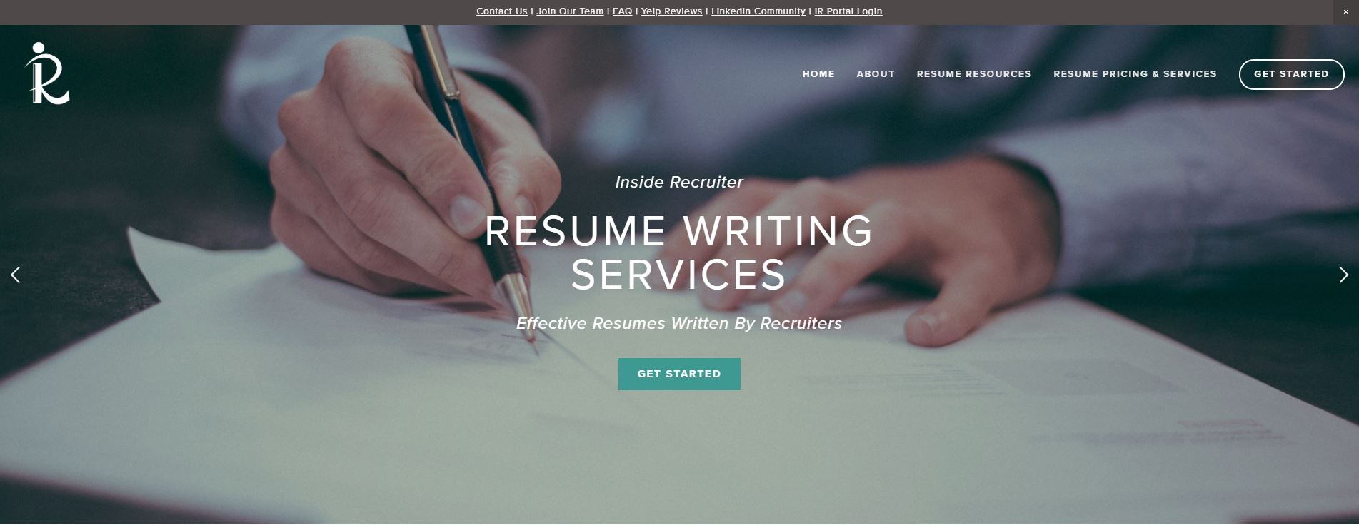 Best Sales Resume Services for 2020 - Screenshot of Inside Recruiter Homepage