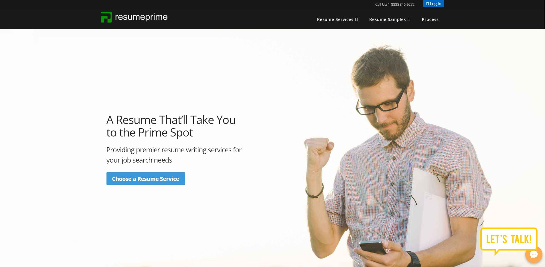 Top 10 Sales Resume Services: Resume Prime Hero Section