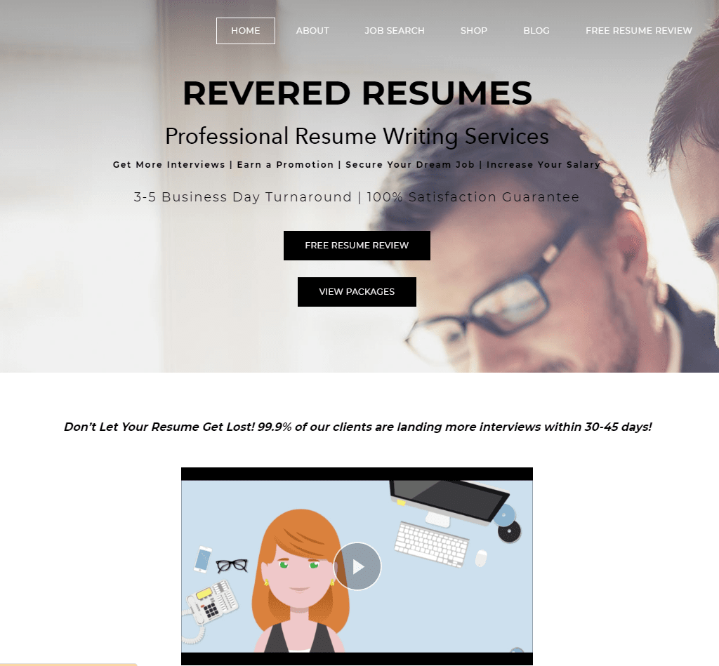Hero section of Revered Resumes which is one of the best sales resume service companies now
