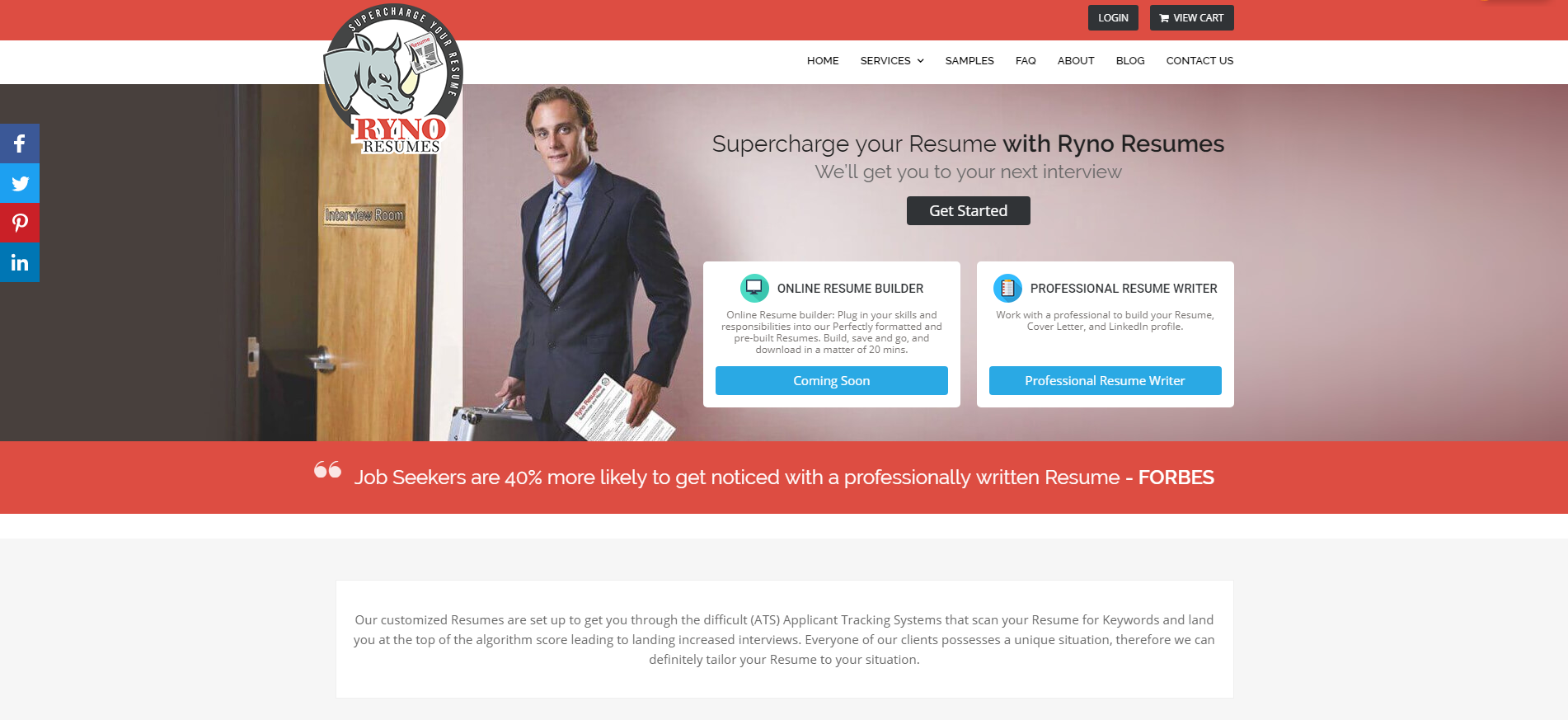 10 Best Marketing Resume Writing Services: Ryno Resumes Hero Section
