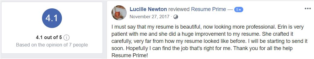 IT Resume Service - Screenshot of Resume Prime Facebook Review