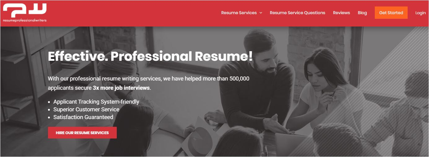 Top 1 IT Resume Service for 2020 - Screenshot of Resume Professional Writers Homepage