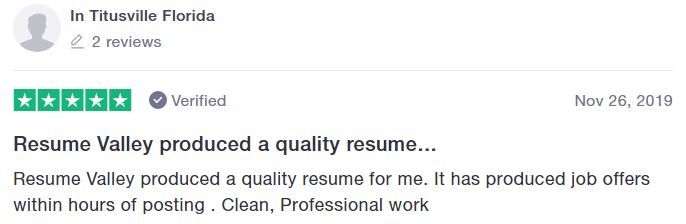 IT Resume Service - Screenshot of Resume Valley Trustpilot Review
