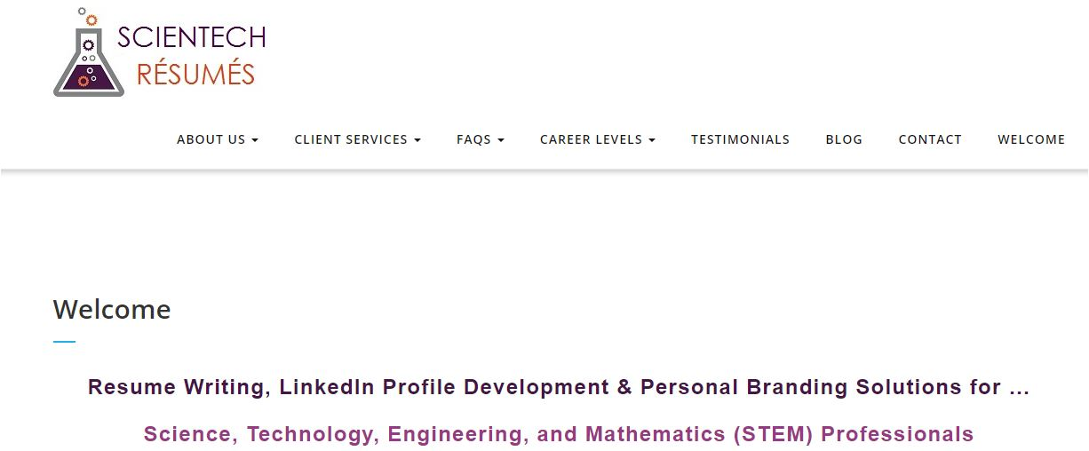 Top 9 IT Resume Service - Screenshot of Scientech Resumes Homepage