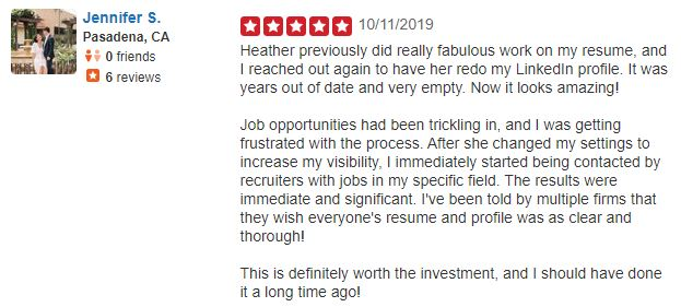 Best sales resume services - Screenshot of Inside Recruiter Yelp Review