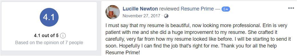 Best sales resume services - Screenshot of Resume Prime Facebook Review
