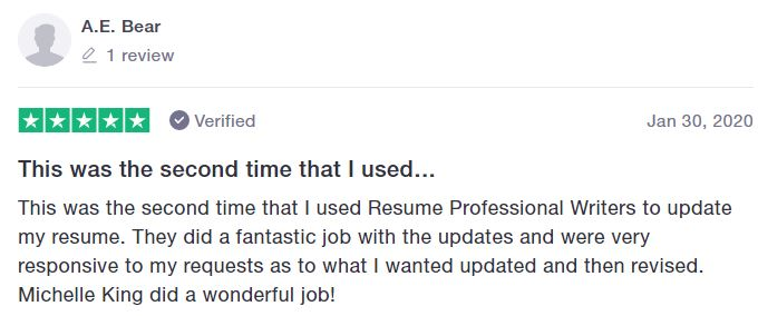 Best sales resume services - Screenshot of Resume Professional Writers Trustpilot Review
