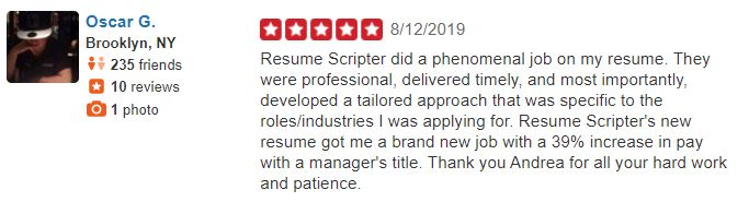 Best sales resume services - Screenshot of Resume Scripter Yelp Review